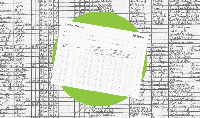 A census worksheet for the 1800-1810 census.
