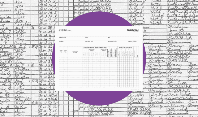 A census worksheet for the 1820 census.