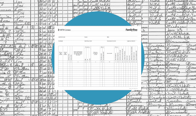 A census worksheet for the 1870 census.