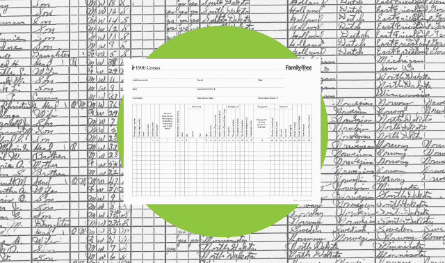A census worksheet for the 1900 census.
