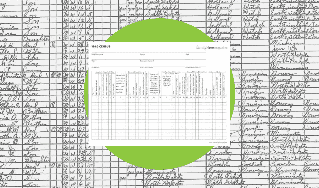 A census worksheet for the 1940 census.