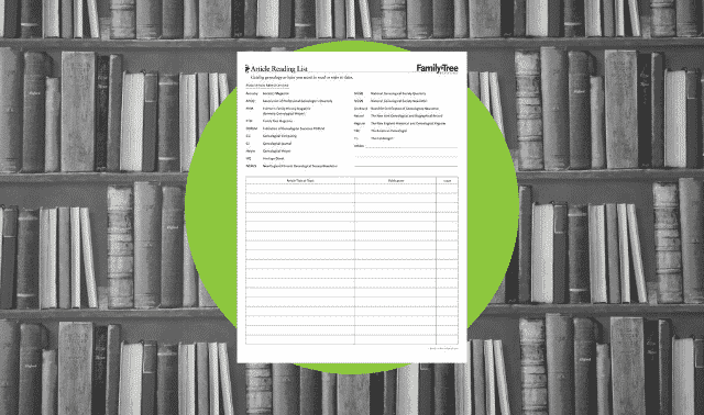 A genealogy form to catalog articles to read or refer to later.