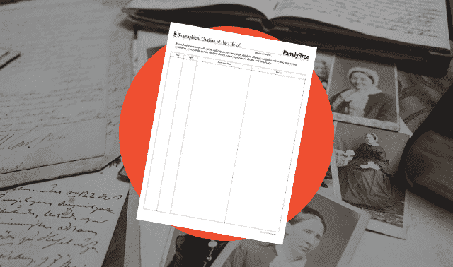 A free genealogy form to note information of events in an ancestor's life.