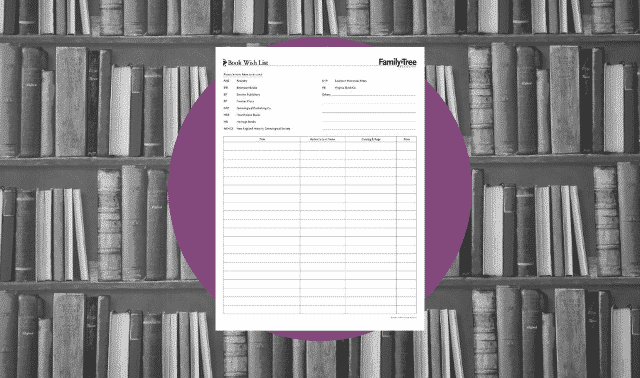 A genealogy form for listing genealogy books to buy or borrow.