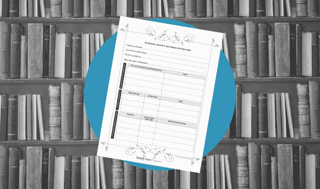 A genealogy form for tracking burned county records.
