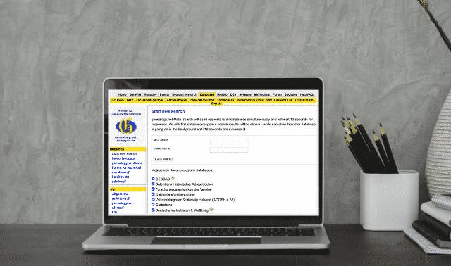 Computer screen showing Compgen.de, a website for finding German ancestors.