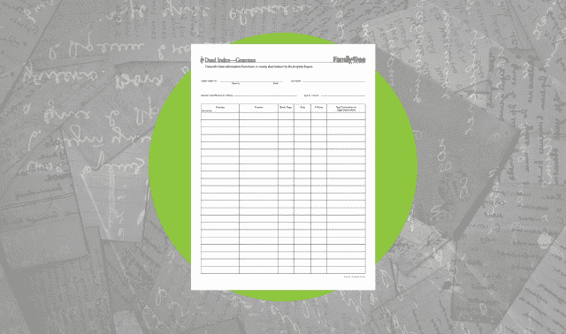 A form for transcribing basic information from town or county deed indexes (by the recipient of property).