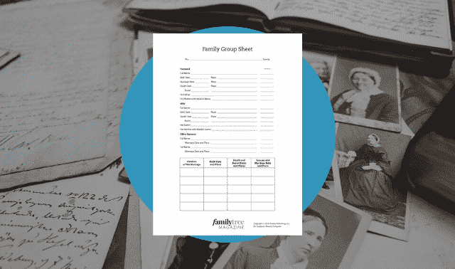 Use this free family tree chart to track specific information on an ancestor and his or her nuclear family, including spouse and children.