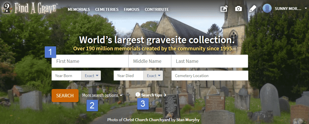 Screenshot of Find a Grave homepage.