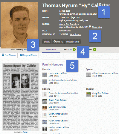 Screenshot of a relative's memorial on Find a Grave.