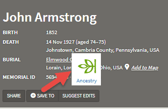 Screenshot from Find a Grave showing how to link memorial to Ancestry.