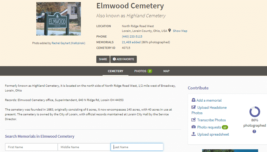 A screenshot from Find a Grave showing a landing page for a burial ground.