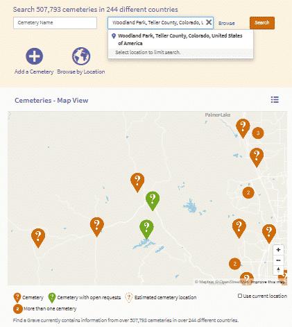 Screenshot detailing Find a Grave contributors.