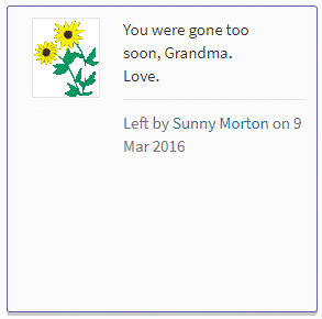 Screenshot of virtual flower and note option on Find a Grave.
