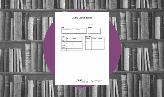 A genealogy form for tracking online database searches.