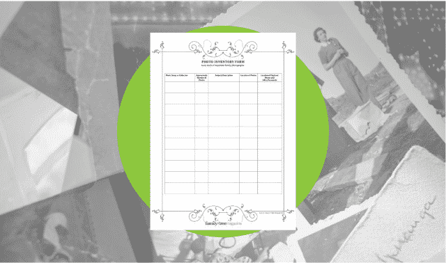A free family history form for recording family photo inventory.