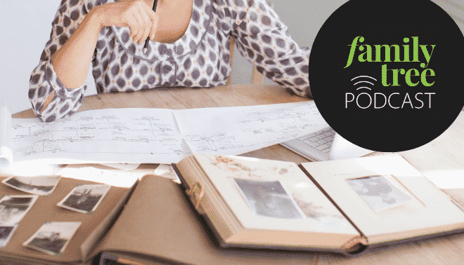Woman at a desk doing genealogy with podcast logo in top right corner.