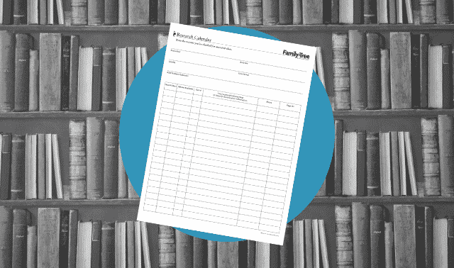 A genealogy research calendar form.