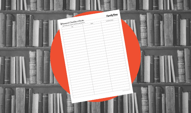 A genealogy form for listing books to check for ancestors' names.