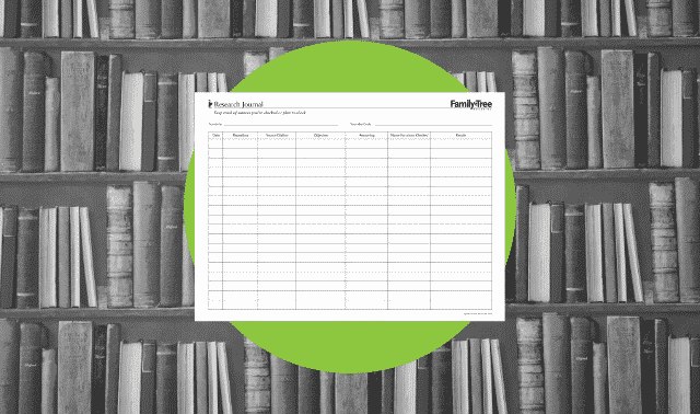 A genealogy research form for tracking sources.