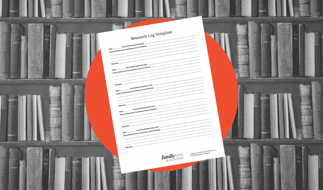A genealogy form to record a research problem or question.