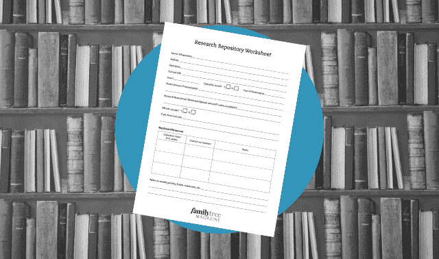 A genealogy records repository checklist form.