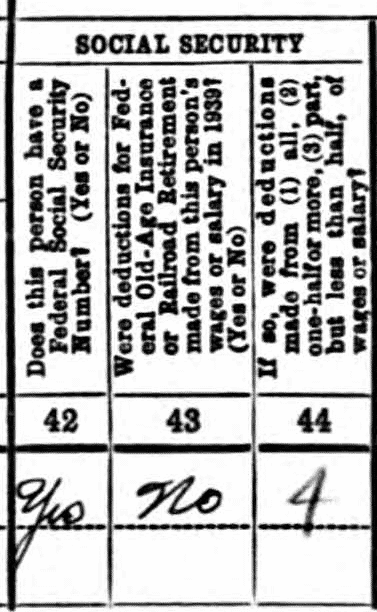 1940 census entry for John J. Felix shows questions 42 through 44, which were related to Social Security