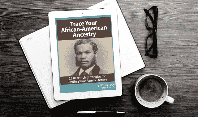 An iPad laying on top of an open book, showing the Trace Your African American Ancestry ebook.