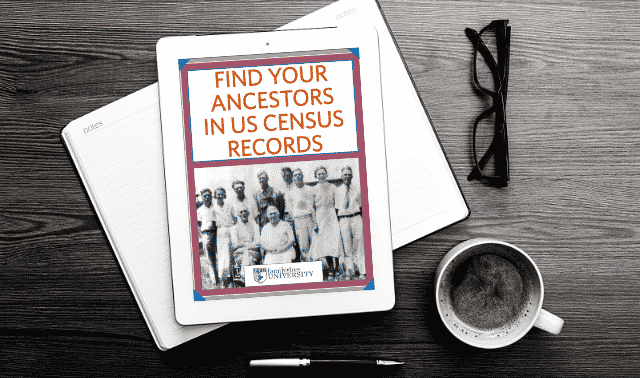 An iPad laying on top of an open book, showing the Find Your Ancestors in the US Census ebook.