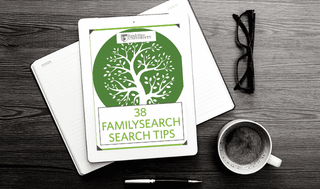 An iPad laying on top of an open book, showing the FamilySearch Search Tips ebook.