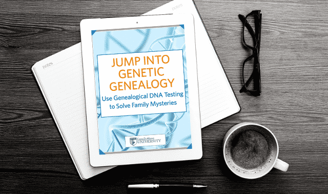 An iPad laying on top of an open book, showing the Jump Into Genetic Genealogy ebook.