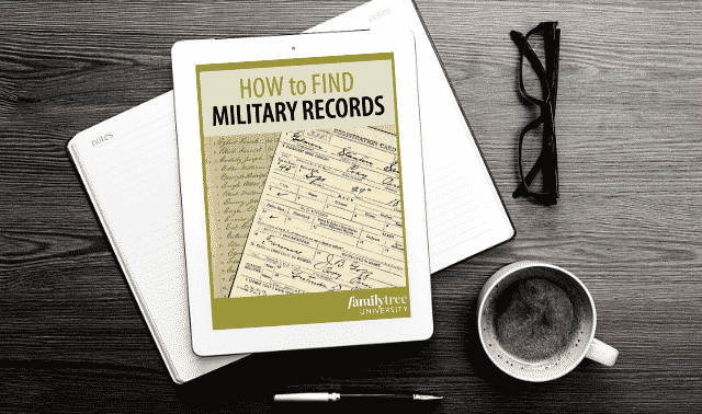 An iPad laying on top of an open book, showing the How to Find Your Ancestor's Military Records ebook.