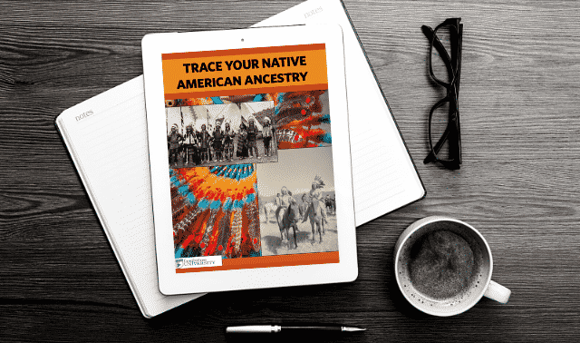 An iPad laying on top of an open book, showing the Trace Your Native American Ancestry ebook.