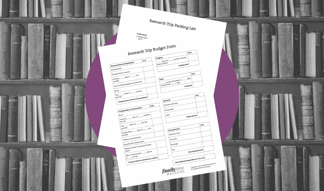 Free genealogy worksheets to help you plan a research trip.