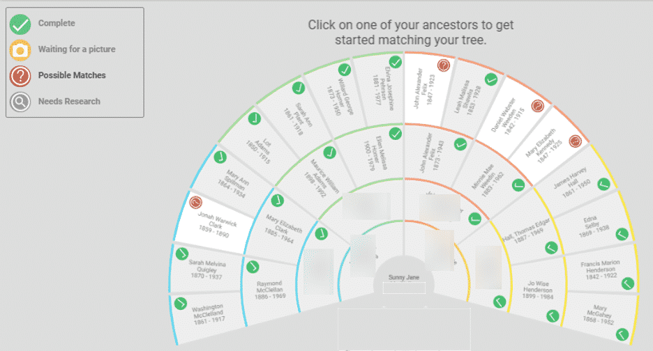 Ancestor fan view chart on BillionGraves.com.