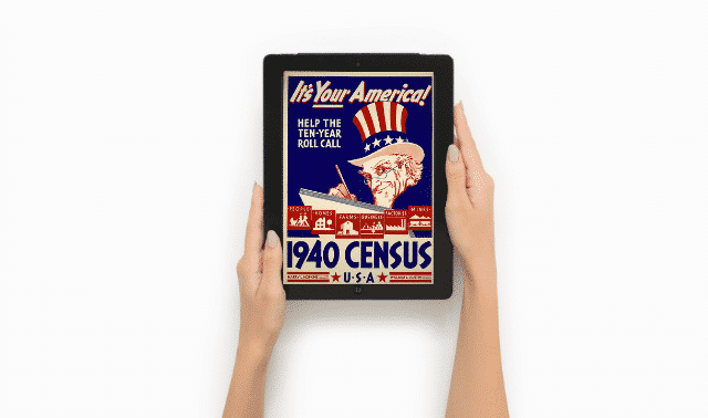 1940 census poster on a tablet