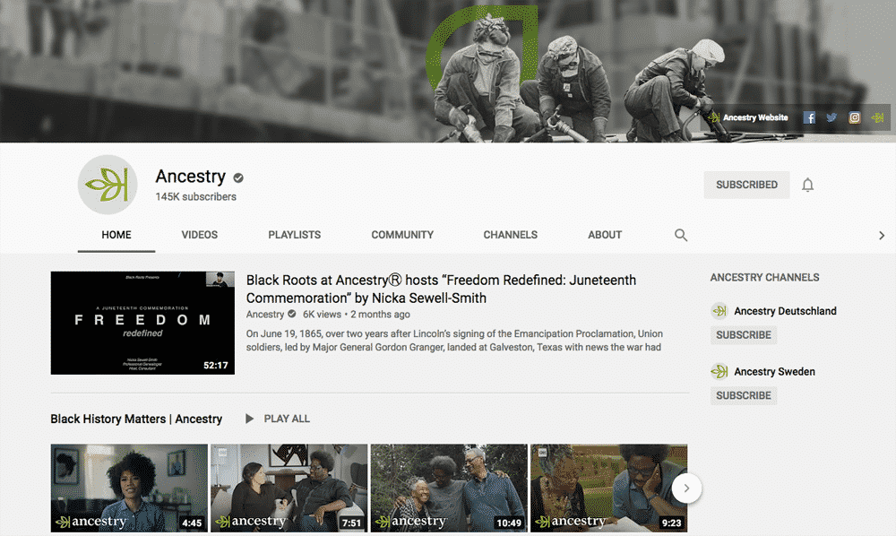 Screenshot of Ancestry.com's YouTube page