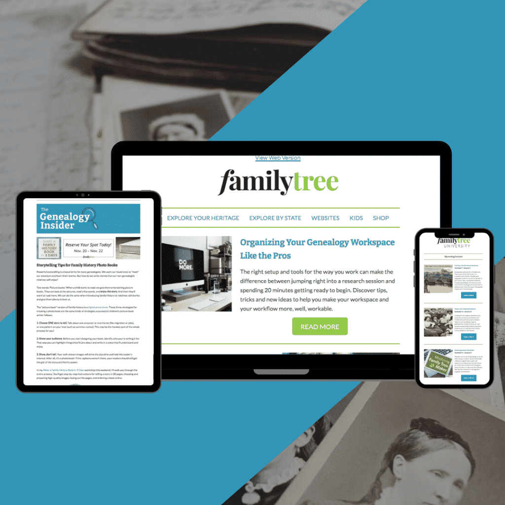 Tablet, laptop, and mobile phone displaying Family Tree newsletters.