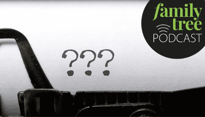 Question marks on a typewriter page with the Family Tree podcast logo.