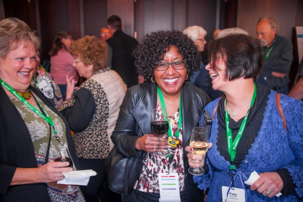 NGS members Bernice Bennet and Patty Reimann at a conference.