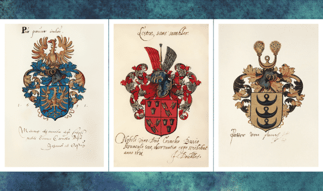 Three examples of coat of arms on a blue background