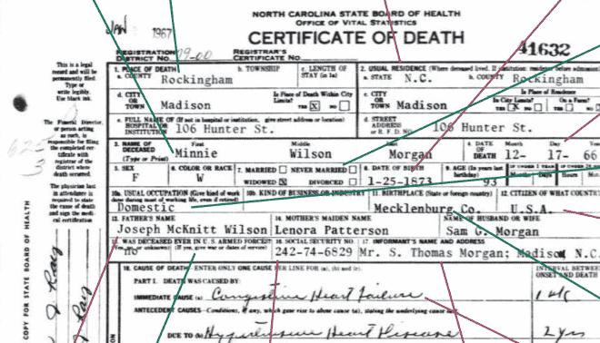 Close up of a death certificate.