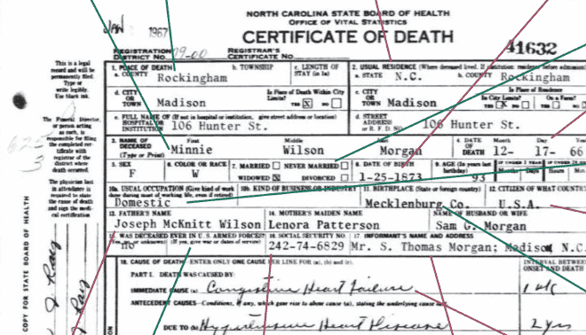 Close up of a death certificate.