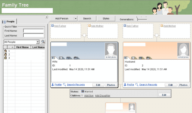 Main page of the Family Tree Builder free software from MyHeritage