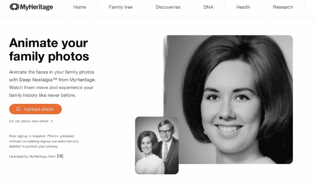 Screenshot of the landing page for MyHeritage's Deep Nostalgia photo animation feature