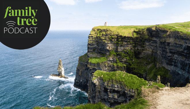 Irish landscape with the Family Tree Podcast logo