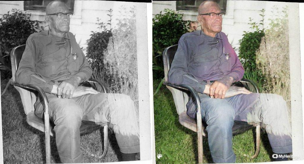A comparison of a black-and-white image of Christopher Bryant's great-grandfather sits in a chair before and after MyHeritage's tools were applied