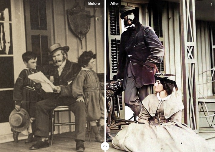 19th-century photo of family sitting on a porch; half the photo has been enhanced and colorized using MyHeritage's tools, while the other half has not.