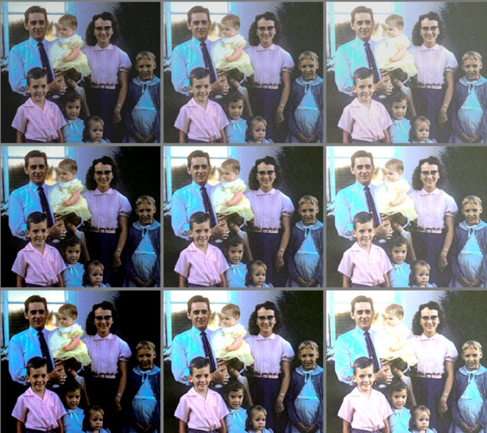 The same photo repeated nine times over in a grid, each with different levels of color saturation and correction