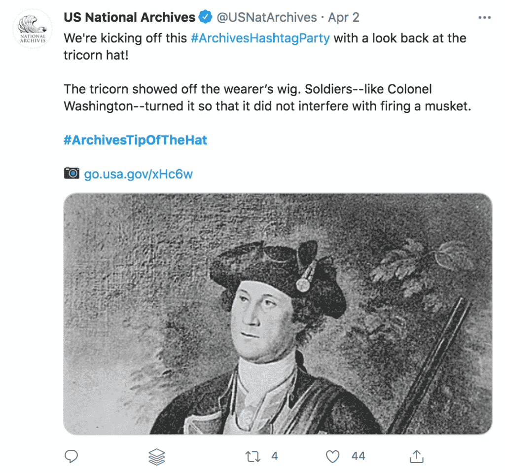 Example of a tweet from the Archives Hashtag Party